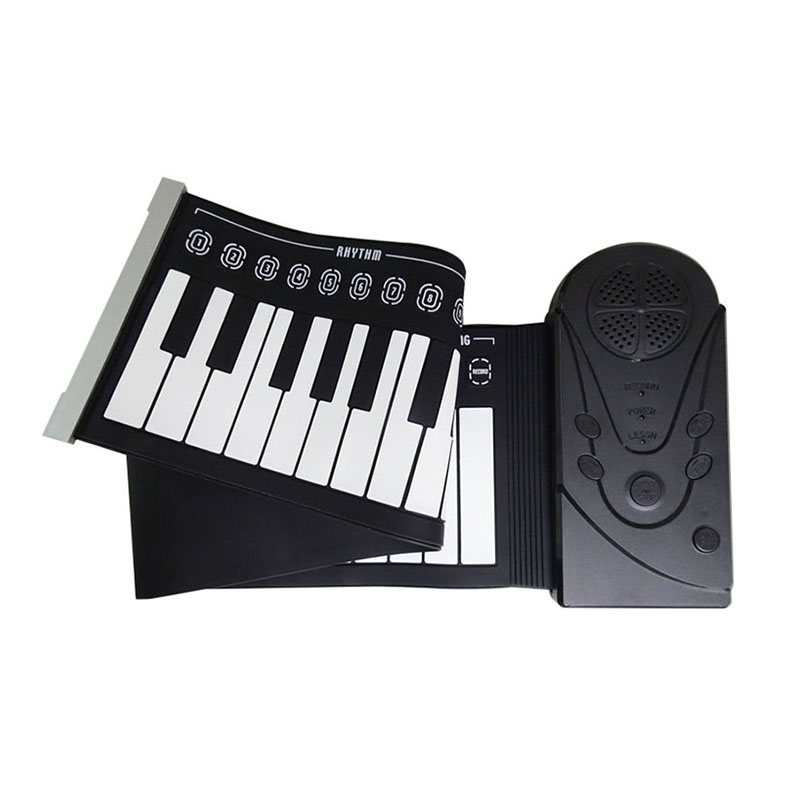 New 49 Keypad Black Beginner Practice Player Musical Instrument ABS+silica gel Soft Portable Folding Piano Gift Kidss Toy