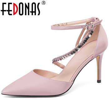 FEDONAS Women Elegant Cow Leather Shoes Bling Chain Ankle Buckle Pointed Toe 2020 New Party Wedding Prom High Heels Shoes Woman