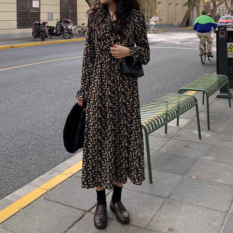 Women Retro Print Midi Dress Long Sleeve Turn Down Collar Female Casual Vintage Mid Calf Dresses Vestidos