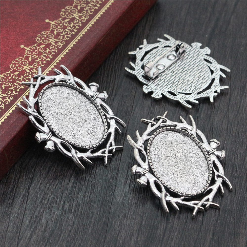 3pcs 18x25mm Inner Size Antique Silver Plated Brooch Pin Classic Style Cameo Cabochon Base Setting  (C2-08)