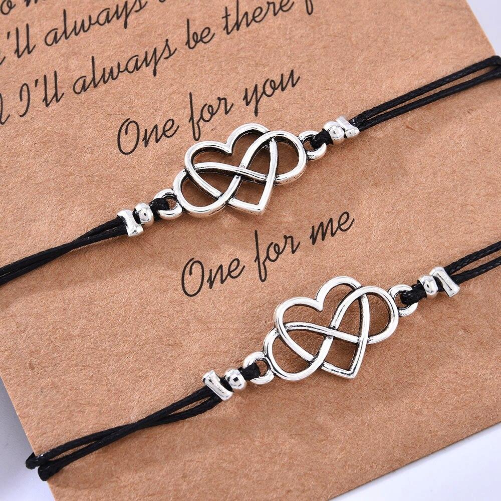 В форме сердца ручной работы с изображением подсолнуха счастливая веревка браслет дружбы открытка