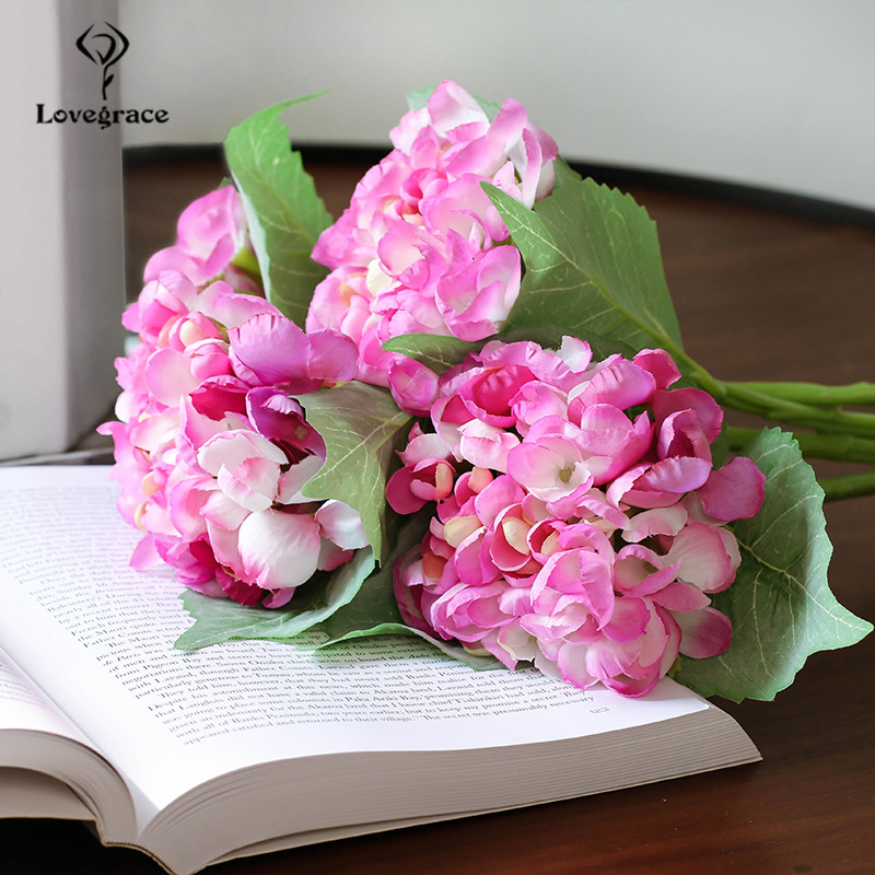 Silk Hydrangeas Artificial Flowers White Big Hydrangea Wedding Flowers Small Bouquet Fake Flower Party Home For Decoration Pink