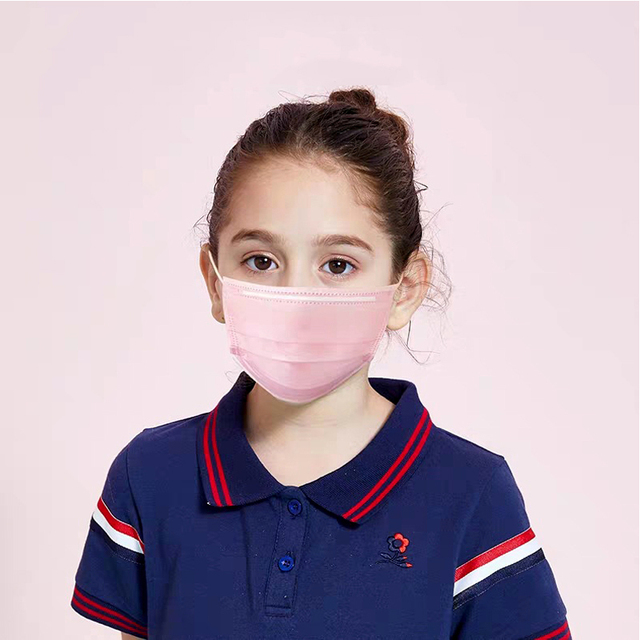 Children Face Masks 3 Layer Elastic Mouth Mask Kids Disposable Mask Soft Breathable Pm2.5 Nonwoven Blue Pink White Boys Girls 2