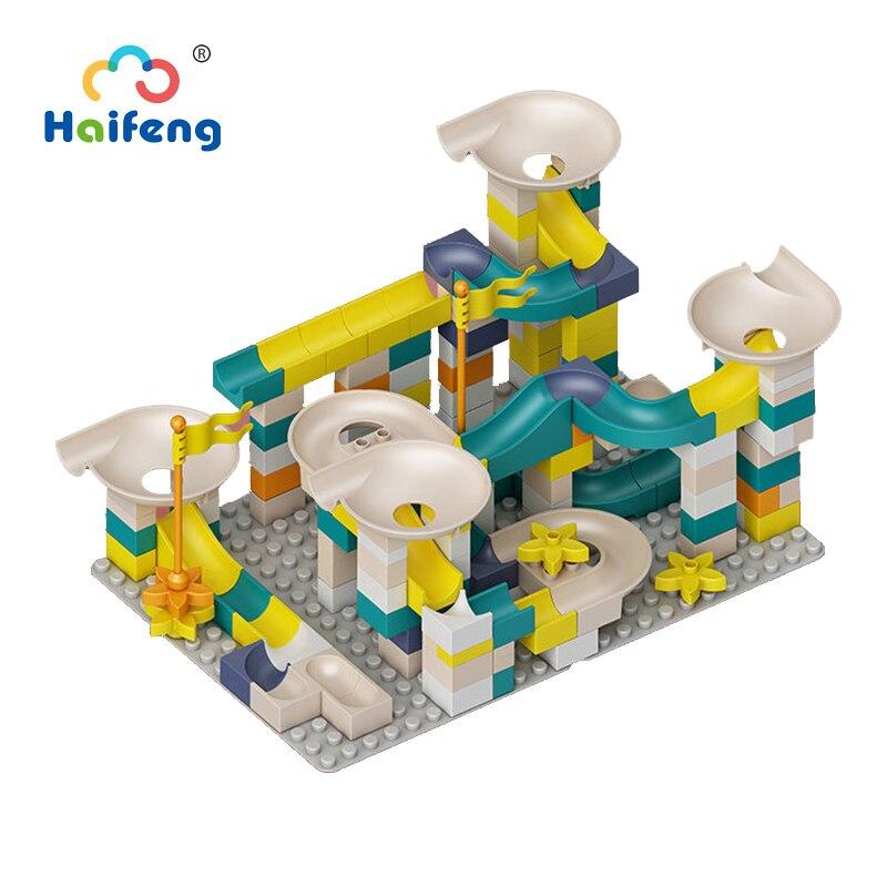 Big Size Building Blocks Marble Race Run Maze Ball Track Compatible Legoo Duploo Funnel Slide Slideway Toys Gift For Kids