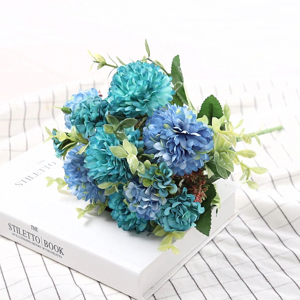 Peony Artificial Flowers High Quality Luxurious Bouquet Wedding Decoration for Home Table Decor Sky Blue Fake Flowers Hydrangea 8