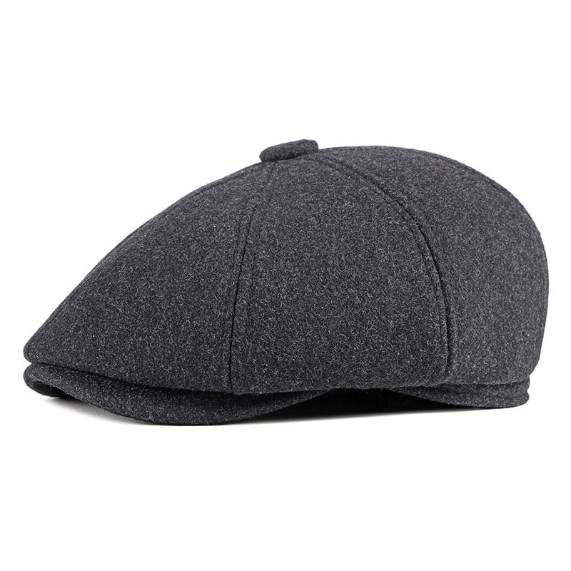 Fibonacci 2020 New Nylon Wool Newsboy Caps For Men Eight Panel Patchwork Middle Old Aged Beckham Flat Top Ivy French Beret Hats