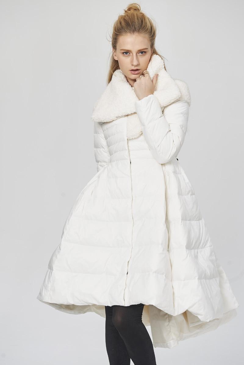 Parka Quality High Warm Winter Coat Women's White Duck Down Jacket Women Asymmetric Skirt Down Coats Abrigo Mujer WXF160 S
