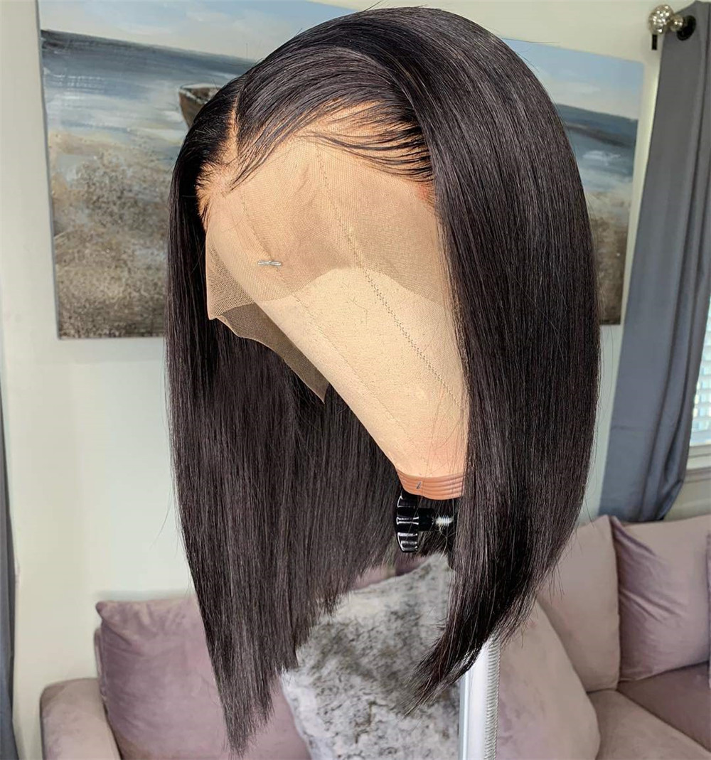 13x6 Short Blunt Cut Bob Lace Front Wigs Human Hair For Women Bleached Knots Brazilian Remy Human Hair Wigs Pre-Plucked 150% D