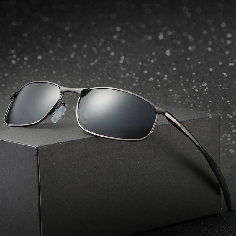العلامة التجارية الاستقطاب النظارات الشمسية الإطار المعدني مربع الكلاسيكية الذكور مكبرة الرجال القيادة نظارات شمسية UV400 ظلال gafas دي سول هوم...