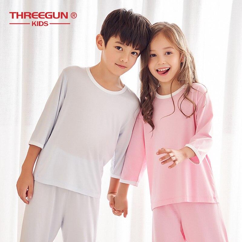 Image 3 - THREEGUN/Детские пижамы для мальчиков и девочек; Летняя Домашняя одежда из модала; Комплекты одежды для сна; Футболка с короткими рукавами + укороченные штаныКомплекты одежды   -