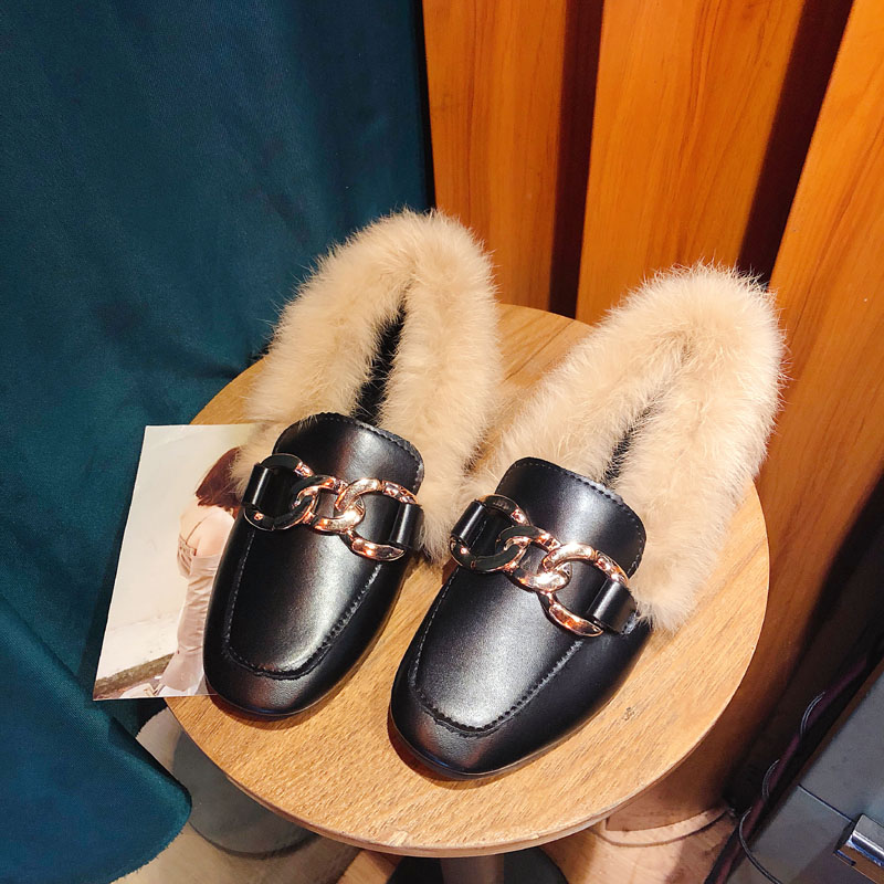 Metal chains leather flats winter loafers women shoes winter warm mules celebrity fur flat creepers soft heel moccasins mujer 54