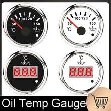 Digital Öl Temperatur Gauge Mit Alarm Wasserdicht 50 ~ 150 Celsius 52MM Boot Öl Temp Gauge Mit Rot Hintergrundbeleuchtung 9 32V