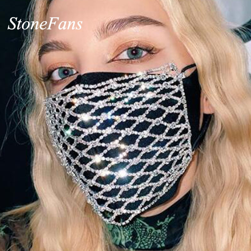 StoneFans Rhinestone Fashion Party Mouth Mask Face Crystal Adult Designer Luxury Bling Facemask Masks Halloween Women Jewellery