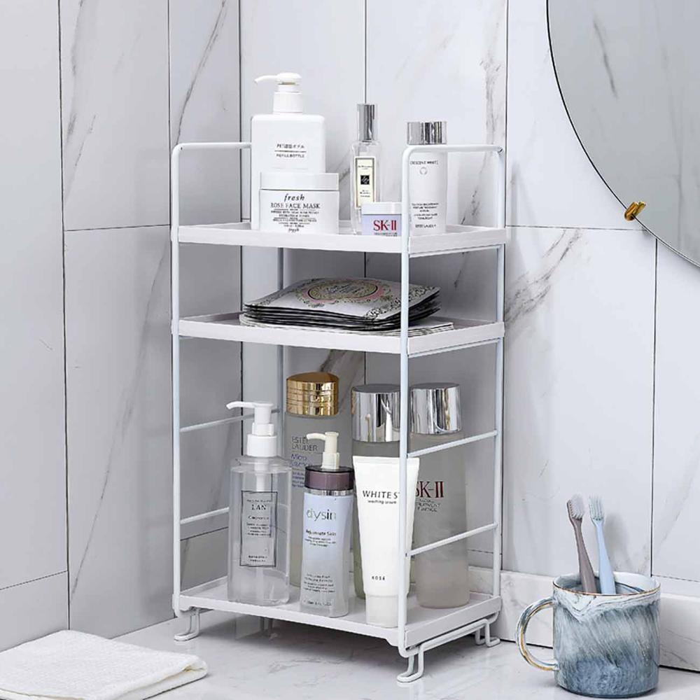 3 Layers Iron Bathroom Shelf Storage Rack Display Cosmetics Shampoo Holder Adjustable Shower Caddy Kitchen Bathroom Organizer
