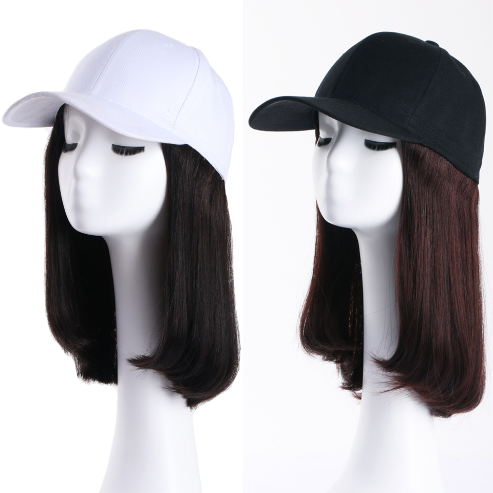 Straight Brazilian Cap With Hair Wig Baseball Cap With Human Hair Extensions For Women Remy #1B Or #2 Color Human Hair Wigs