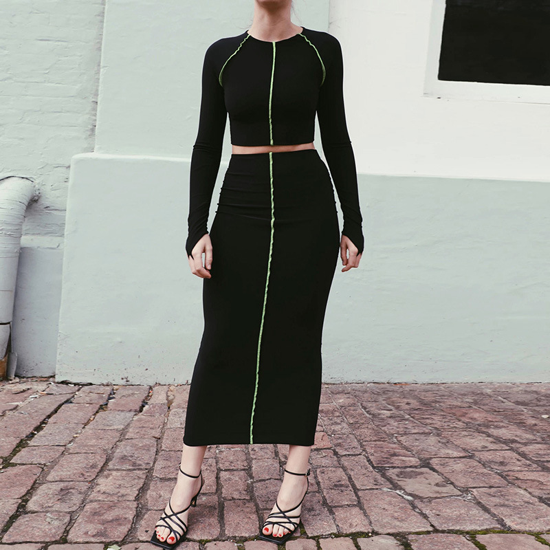 Gothic Black 2020 Spring New O-Neck Long Sleeve Splice Line Skinny Crop Tops And High Waist Dark Bodycon Long Skirts 2 Piece Set