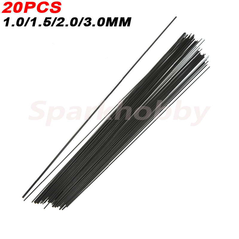 20PCS 1MM 1.5MM 2MM 3MM (0.5 Meter) Solid Carbon Fiber Rod Reinforcement Rod High Strength Light Weight For DIY RC Airplane
