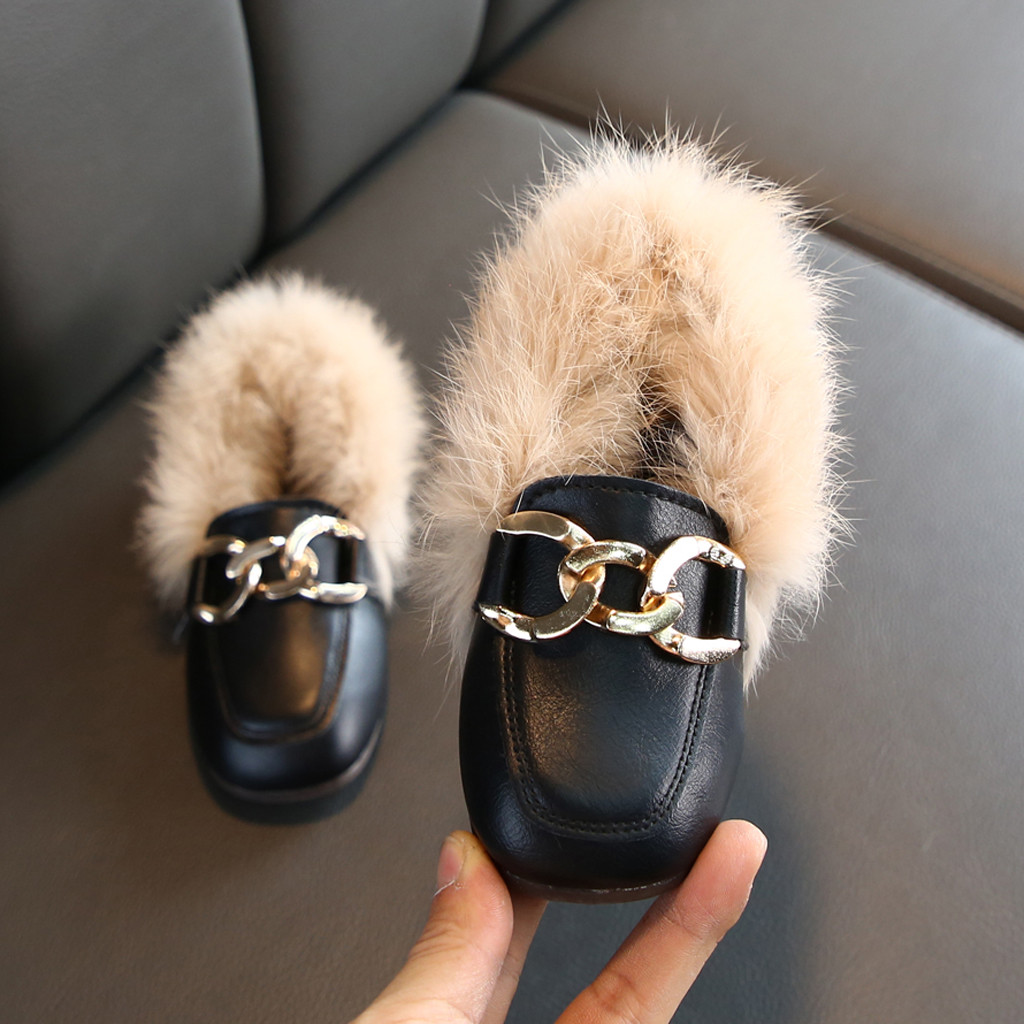 Toddler Kids Baby Boy Girls Children Casual Winter Warm Furry Hairy Casual Shoes