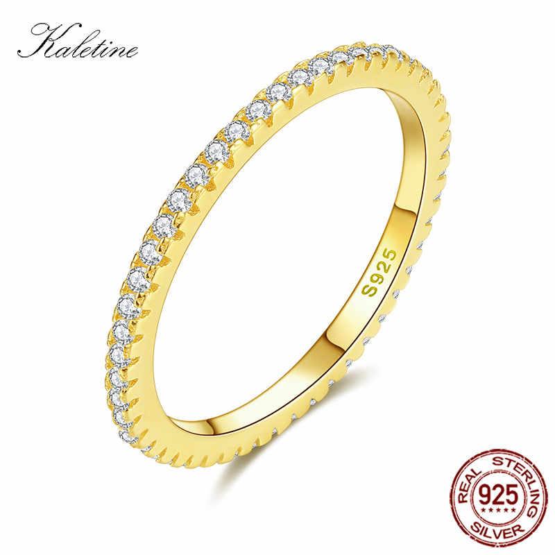 KALETINE กระชับแหวน 925 เงินสเตอร์ลิงหรูหรายี่ห้อ CZ Stone Rose สีดำทองงานแต่งงานบัลแกเรียเครื่องประดับแหวนบุรุษ