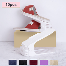 Rack-Holder Shoes Organizer Shoe-Racks Plastic Adjustable White Double-Layer Home 10pcs