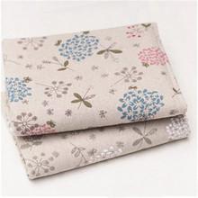 100*150cm Handmade DIY linen color dandelion linen fabric cotton linen printing sofa cloth pillow fabric