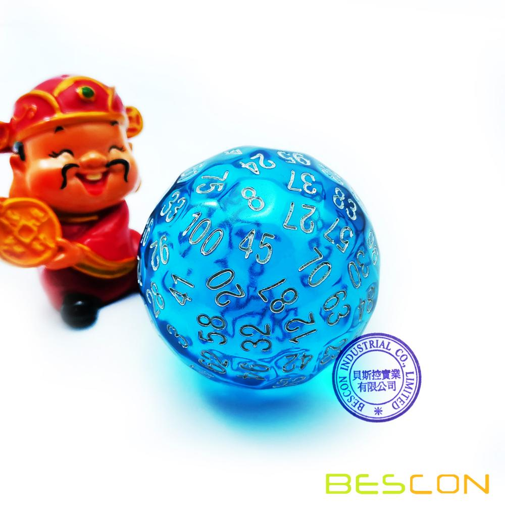 Bescon Translucent Blue Polyhedral Dice 100 Sides Dice, Transparent D100 die, 100 Sided Cube, D100 Game Dice,100-Sided CubePuzzles & Games
