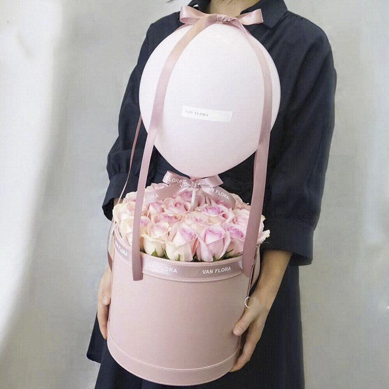 Creative Portable Round Leather Flowers Gift Packaging Boxes For Wedding Party Decor Florist Handy Flower Gift Case