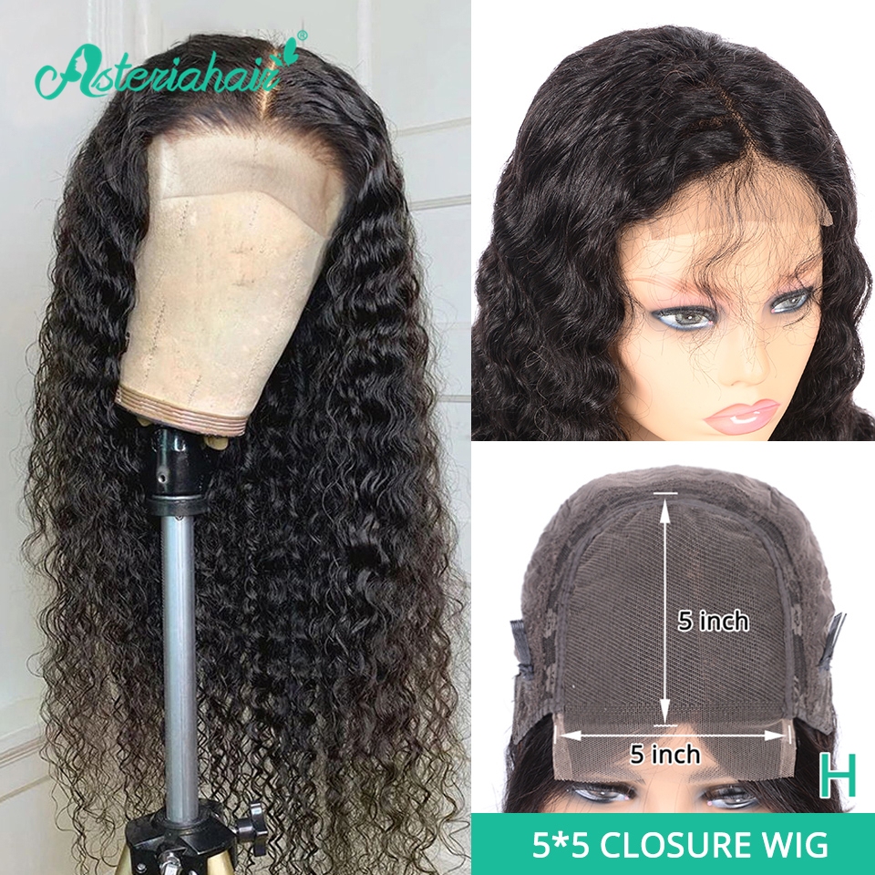 Asteria Deep Wave 5x5 Lace Closure Wigs For Black Women Brazilian 6x6 Human Hair Wigs 130 150 Density High Ratio Remy Hair Weave