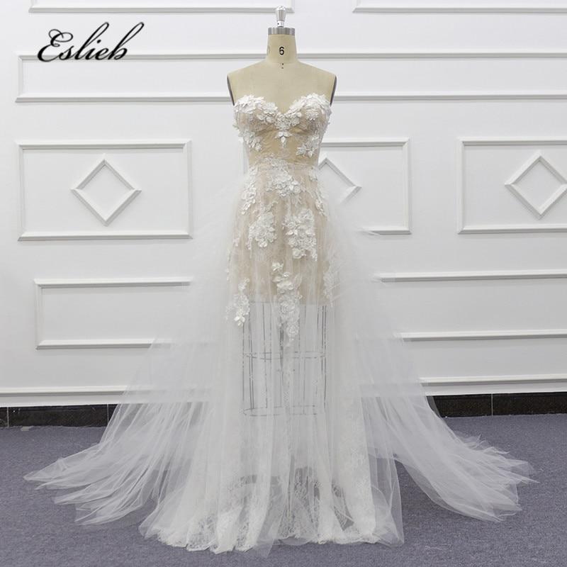 Eslieb 2020 New Arrival Champagne Mermaid Wedding Dress 3d Flower Crystal Wedding Dresses Bridal Gowns Vestido De Noiva Beach