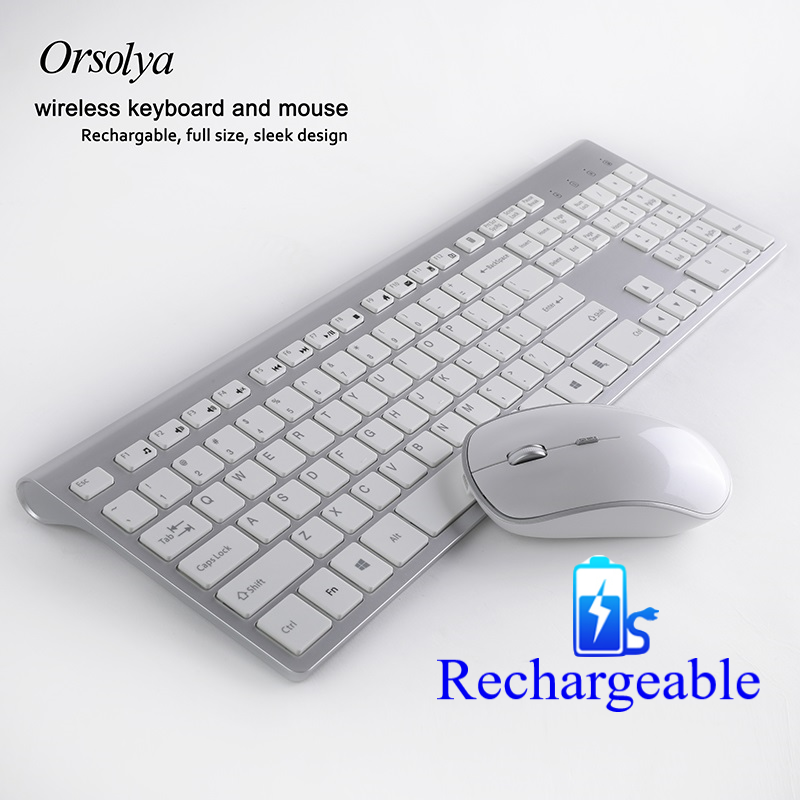 Rechargeable 106 Keys Full Size Wireless Keyboard And Mouse Spanish/French/Italian/German/US/UK Keyboard Mouse Set 2400DPI Mouse