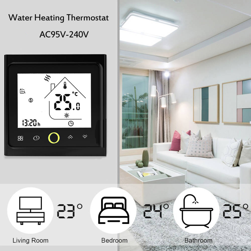 Thermostat Programmable 3A Water Heating Thermostat LCD Display Touch Screen NTC Sensor Winter Warm Room Temperature Controller