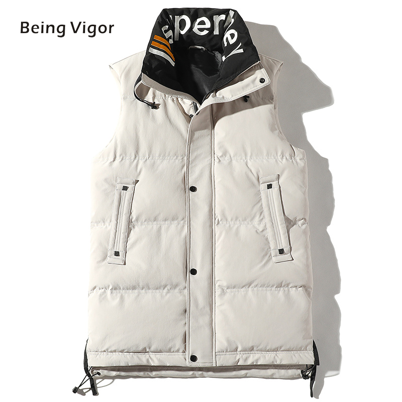 2019  Men Gilet Waistcoat Winter Cotton Padded Sleeveless Puffer Jacket Coats Outwear Men's Thicken Vest 4XL