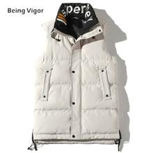 2019  Men Gilet Waistcoat Winter Cotton Padded Sleeveless Puffer Jacket Coats Outwear Mens Thicken Vest 4XL