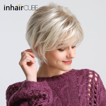 Inhaircube krótkie włosy peruka z naturalnych Bangs fryzura Pixie z podkreśla syntetyczne krótkie proste strzyżenie dla białych kobiet