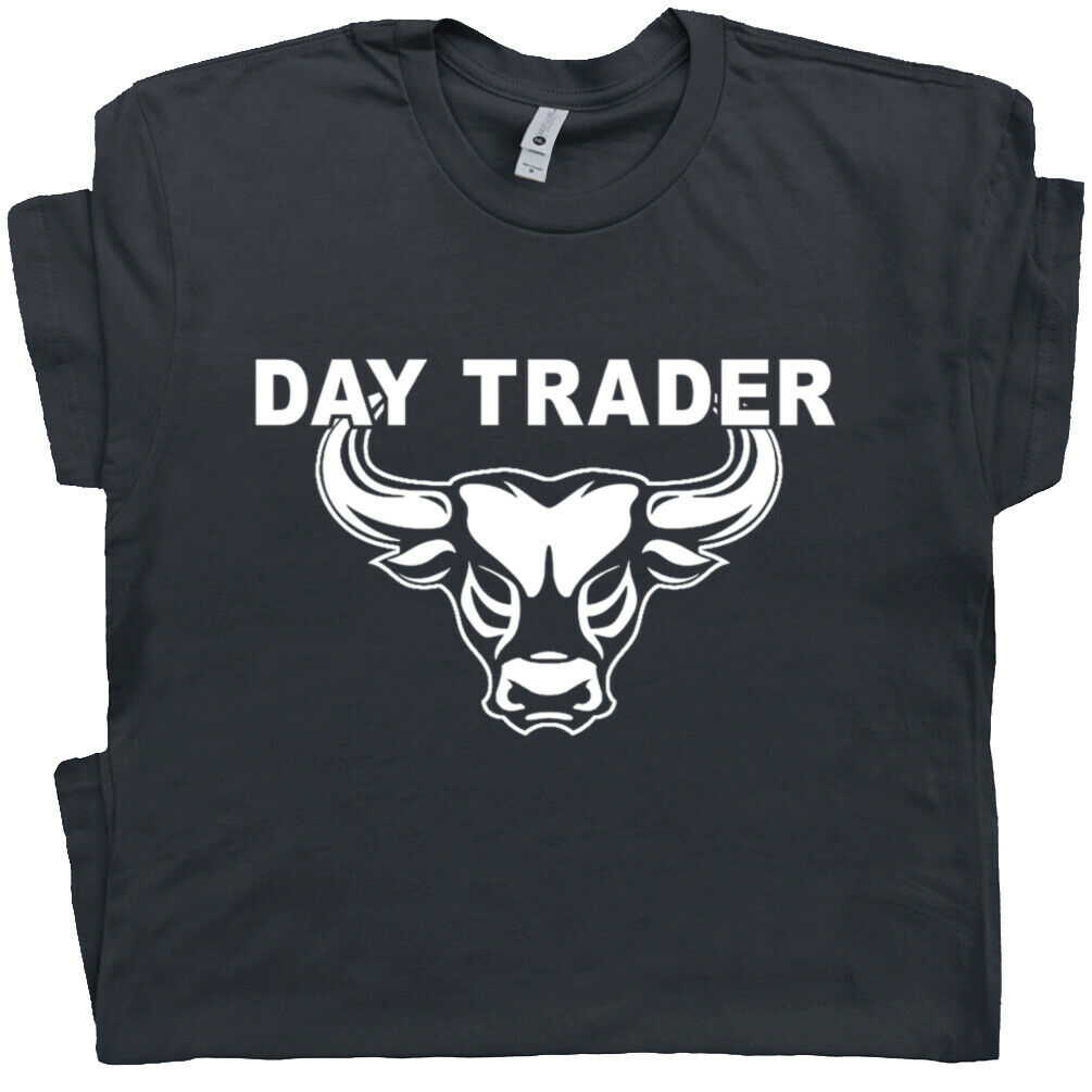 Day Trading T Shirt Stock Market Trader Forex Bitcoin Cryptocurrency Bull Tee image
