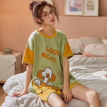 BZEL-Conjunto de Pijamas de manga corta con cuello redondo para mujer, ropa de dormir de dibujos animados, de algodón, cómoda, para el hogar