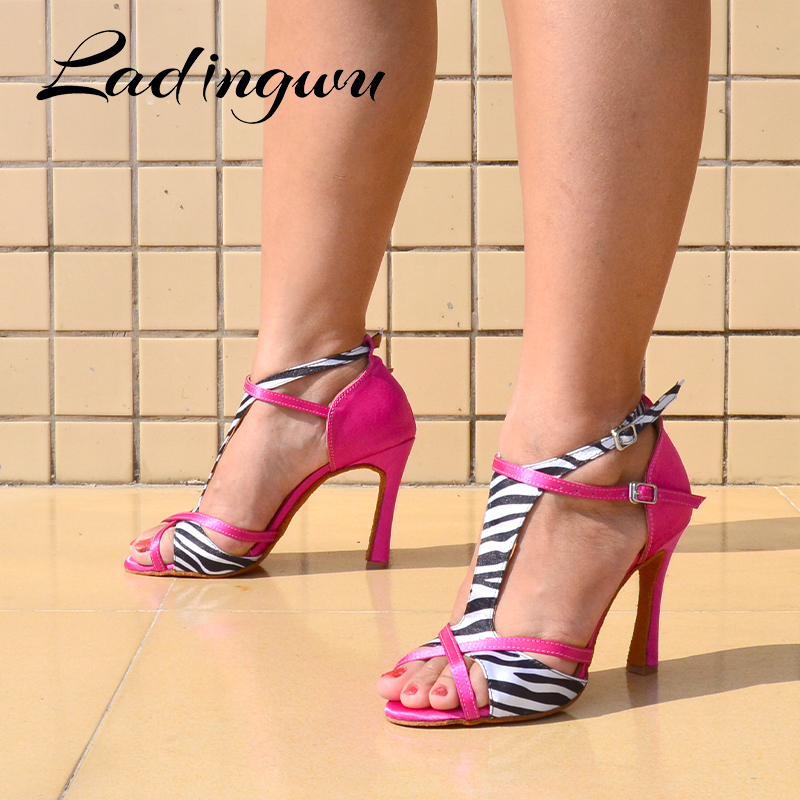Ladingwu Dance Shoes Latin Women Salsa Dance Shoes Girls Party Performance Professional Dance Shoes Soft Bottom Ballroom