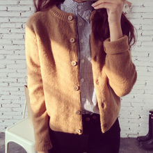 New womens knitted sweater in autumn Female cardigan female jacket Brown casual coat