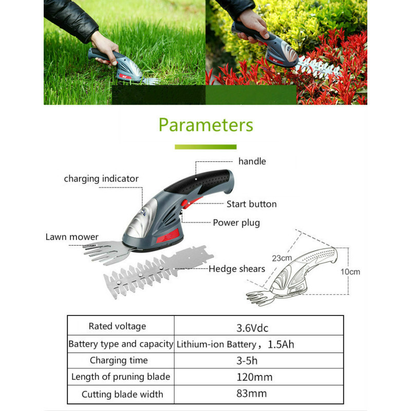 Rechargeable Tools 3 6V Hedge Grass Trimmer Battery Garden Trimmers Lithium Cordless Ion In Electric Trimmer 1 Hedge 2