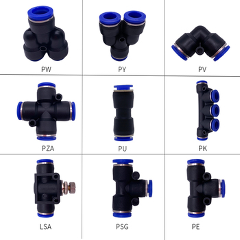 1PCS T/Y/L/Straight Type Pneumatic Push Fittings Air/Water Hose Tube Quick Connector 4 to 16mm PW/PY/PV/PZA/PG/PU/PK/LSA/PSG/PET pneumatic fittings cylinder 12mm 8mm 6mm 4mm air water hose tube one touch straight fittings pneumatic white connector