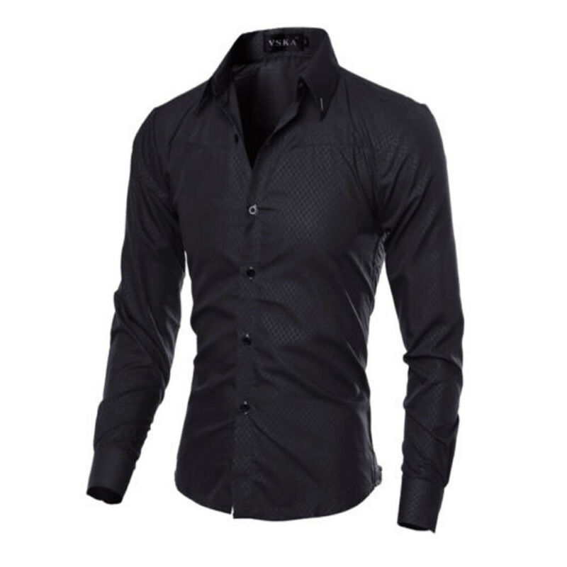 2019 New Luxury Quality Men Slim Fit Shirt Long Sleeve Dress Shirts Casual Shirt Tee Tops Fashion Solid Color Formal Shirt