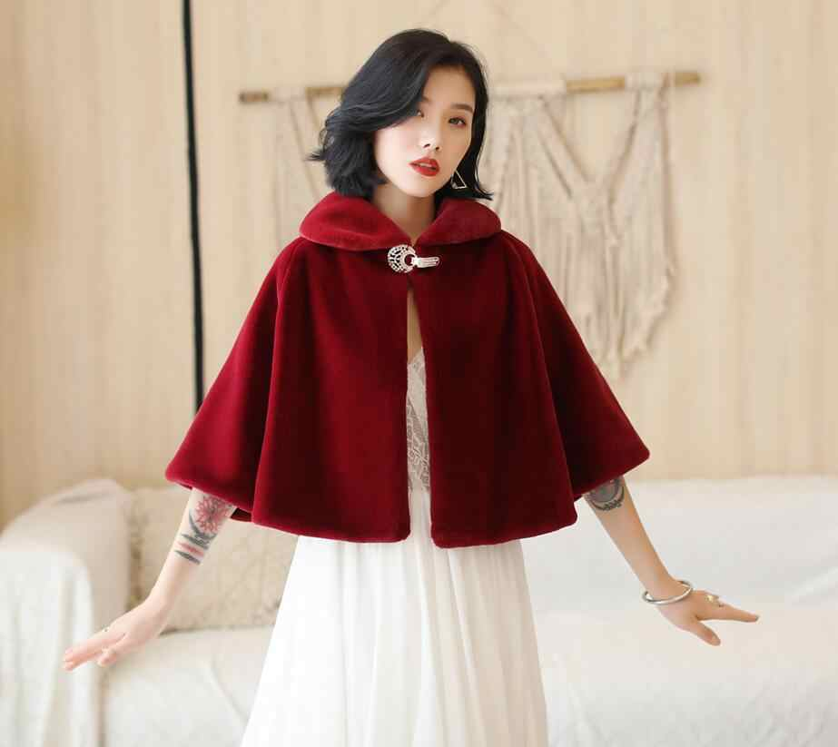 SHAMAI Burgundy Faux Fur Winter Wedding Wrap Warm Fur Boleros Bridal Cape Evening Coat Wedding Jacket Party Dress With Brooch