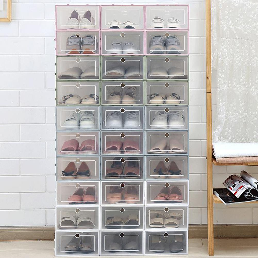 3 PCS Thickened Foldable Shoe Storage Case Boxes Stackable Organizer Clear Plastic Shoe Box Shoe Cabinet Home Shoe Rack Stand