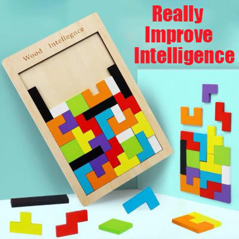 New Pattern 3d Wooden Puzzles Jigsaw Board Tangram Brain Teaser Children Puzzle Toys Tetris Game Educational Baby Toys Gifts