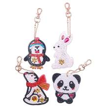 4pcs DIY Full Drill Special Shaped Diamond Painting Animals Keychain Girls Gifts Use Resin As Brightening Paint Material(China)