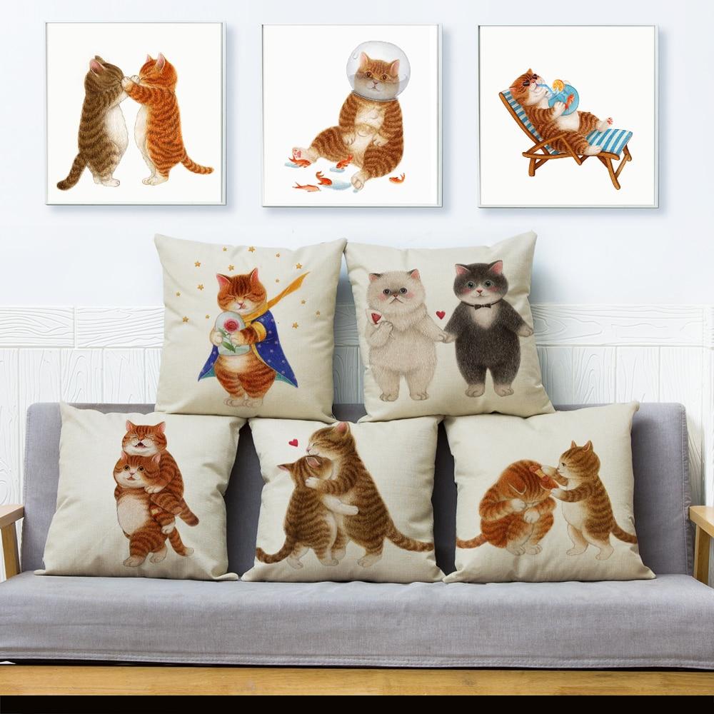 Cute Cartoon Pet Cat Print Cushion Cover 45*45 Cm Pillow Covers Linen Pillowcase For Sofa Home Car Decor Animal Pillows Cases