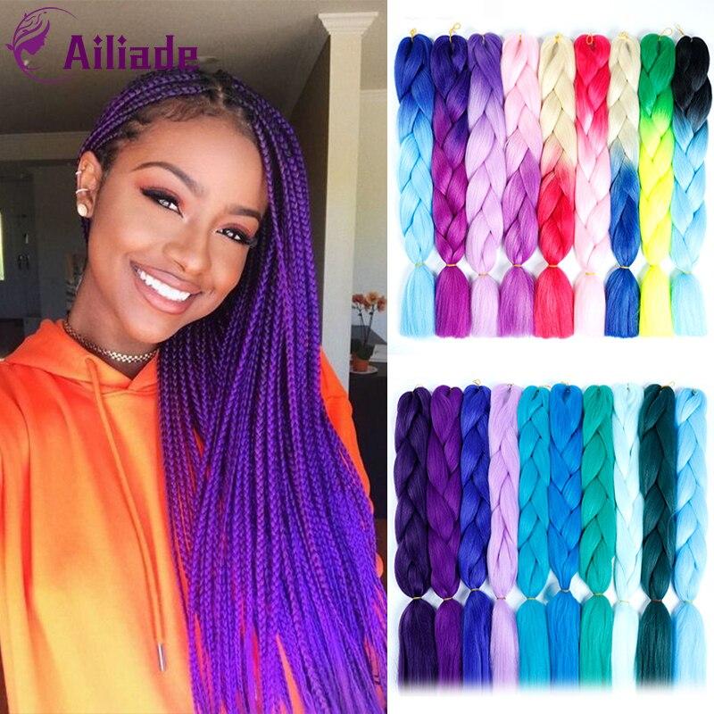 AILIADE африканские косички из вискозы, Длинные Омбре Джамбо синтетические плетеные волосы, светлые розовые синие фиолетовые волосы для наращ...