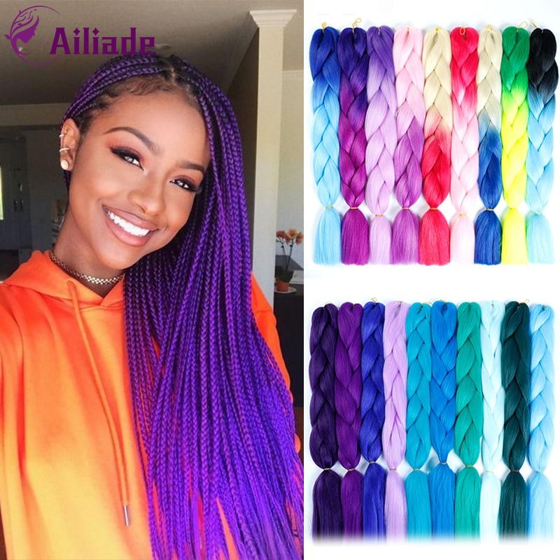 AILIADE African Viscera Jumbo Braids Long Ombre Jumbo Synthetic Braiding Hair Crochet Blonde Pink Blue Purple Hair Extensions