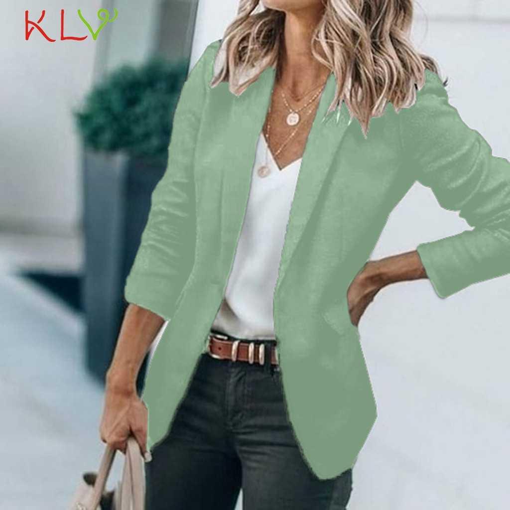 女性ブレザージャケット固体エレガントなスリムスーツコートのオフィスの女性上着オープンステッチ女性カジュアルシックなトップス偽ポケット 19Sep