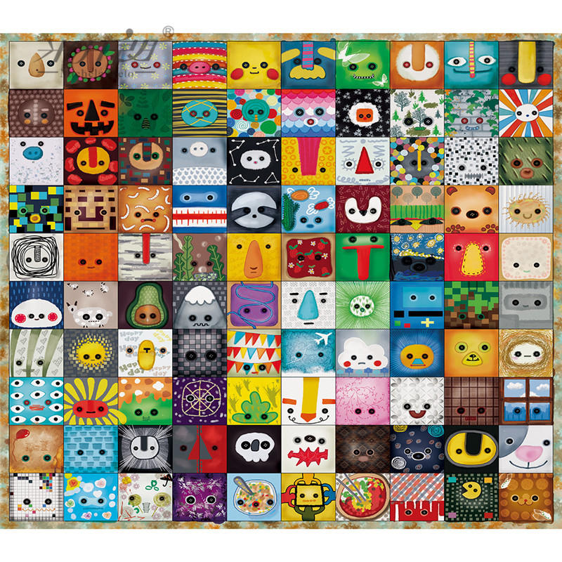 Michelangelo Wooden <font><b>Jigsaw</b></font> <font><b>Puzzle</b></font> 500 900 <font><b>Pieces</b></font> Cartoon Animals Face Emotion Icons Kids Educational Toy Painting Art Decor Gift image